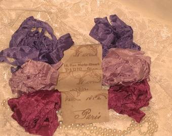 French Inspired Seam Binding Ribbon Distressed and Scrunched  - Tres Jolie - French Marche (SB010)
