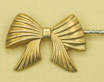 Vintage Brass Bow Hairpin