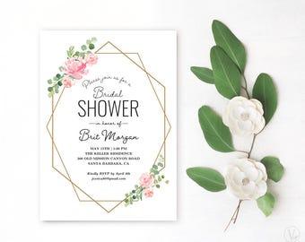 Blush Pink Floral Bridal Shower Invitation, Printable Bridal Shower Invitation Template, Geometric Bridal Shower, VW20