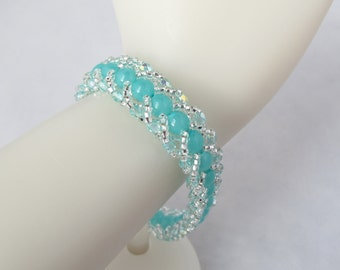 Turquoise and Silver Flat Spiral Bracelet with Silver Toggle Clasp