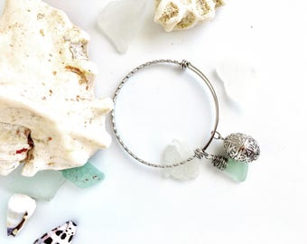 Aromatherapy Sea Glass Bangle - Aqua