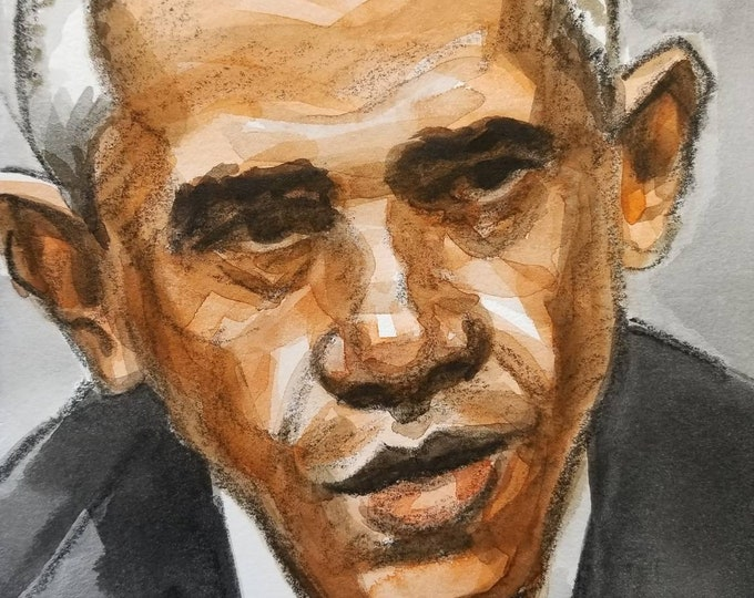 Barack Obama, 6x9 inches, watercolor and crayon on cotton paper by Kenney Mencher
