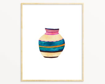 Bohemian Wall Art Print. Watercolor Woven Basket Painting. Modern Boho Wall Art. Eclectic Artwork. Colorful African Basket Painting.