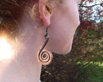 Hand Forged Copper Spiral Earrings