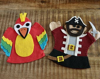 Pirate & Parrot Hand Puppets (2 set)