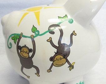 Personalized Piggy Bank Swinging Monkey