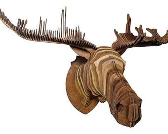 Wooden elk head