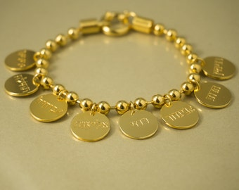 Personalized Gold Bracelet, Gold Custom Bracelet, Customized Gold Bracelet, Custom Name Bracelet, Personalized Mom Bracelet