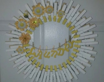 Clothespin laundry wreath