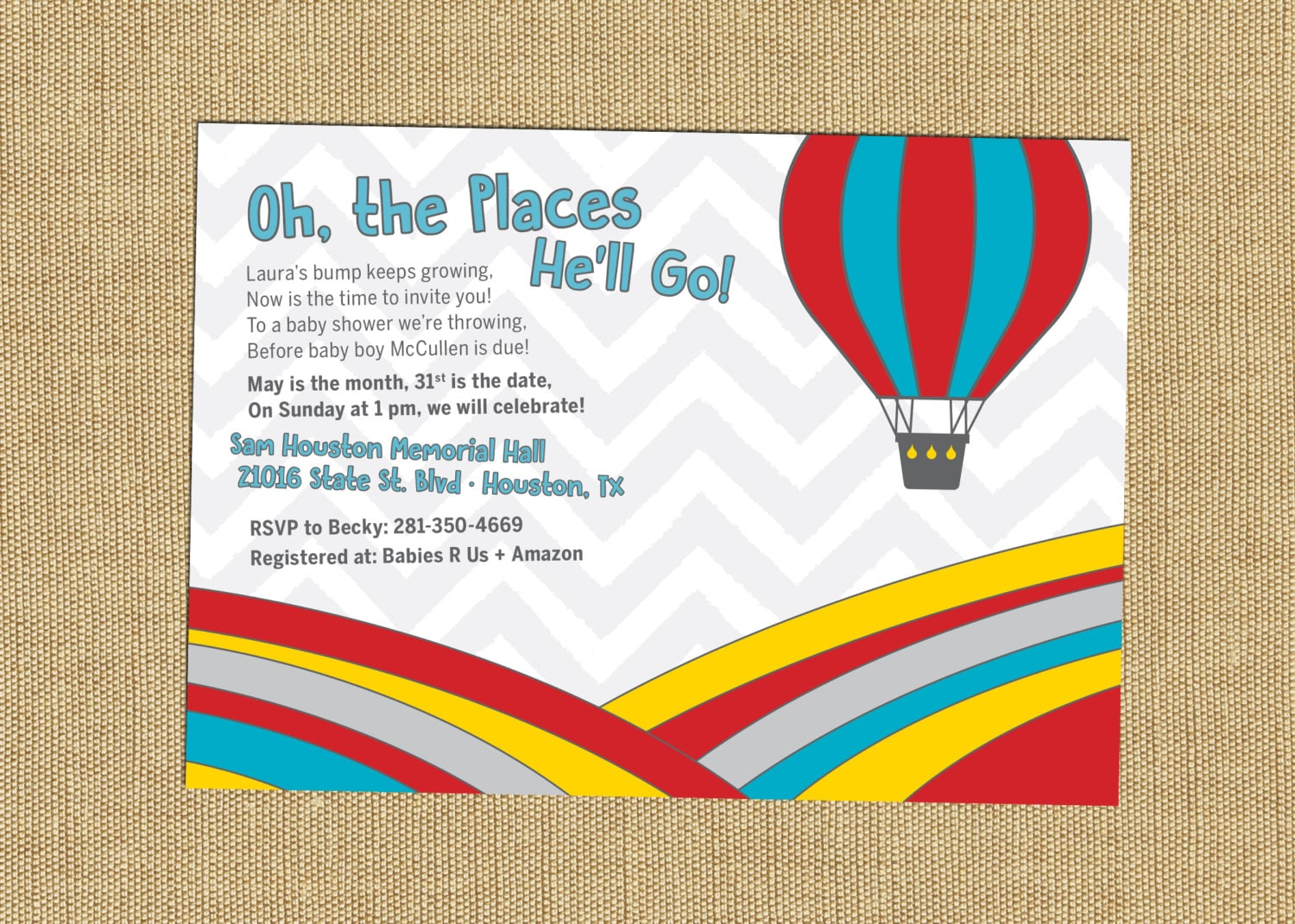 Dr Seuss On the places you\'ll go Invitation Oh the places