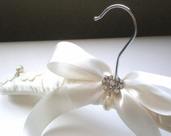 Padded Ivory Satin Bridal Hanger. Rhinestone Button & Pearl Drop. Shower GIFT Chic Grande Bows. Rhinestone Dress Guards. Bride Maids. Prom.