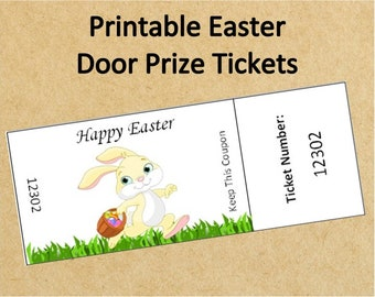 Instant Download Easter Door Prize Tickets~Up to 40 Tickets!~Printable Numbered Raffle Tickets~Printable Easter Party Tickets~Easter Tickets