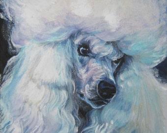 Standard Poodle dog art portrait CANVAS print of LA Shepard painting 12x12