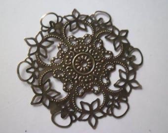 x 2 prints filigree flower bronze 55 mm