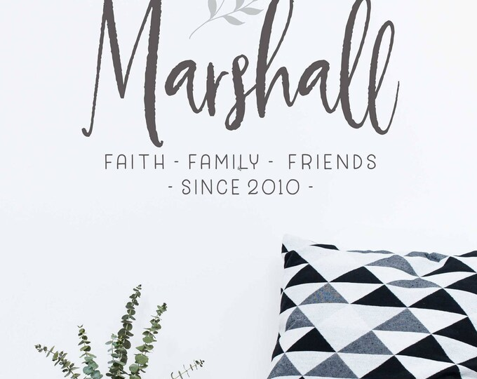 Farmhouse Family Name Wall Decal  // Personalized Name Sign  // Last Name Wall Decal //  Gift for Couples // Wedding Sign