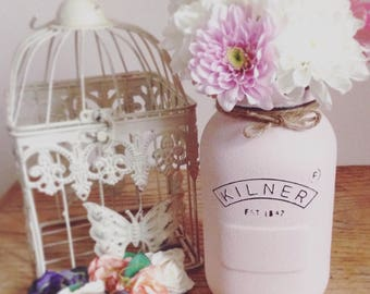 Large pink Shabby Chic Vintage Rustic Barn Wedding Painted Kilner Mason Jar, Flower Vase, Wedding Table Centrepiece