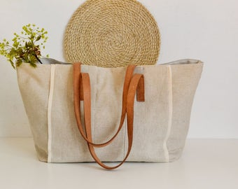 Linen Tote  Bag,Linen Beach bag, Beach tote bag, French Market bag, Boho bag ,Leather handles bag, Mother's day , Natural linen bag, Handbag