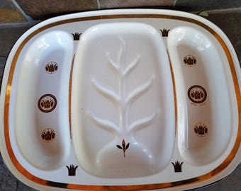 Vintage Georges Briard Signed Metal Meat Tray  Mid Century  White and Gold