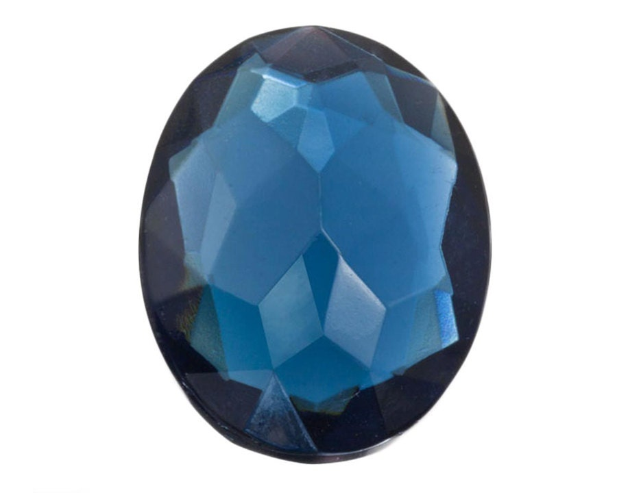 12 Large Blue Focal Gems 22x30mm Faceted Oval Cut