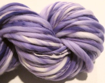 Super Bulky Handspun Yarn Almost Solid Violet 100 yards hand dyed wool purple yarn waldorf doll hair knitting supplies crochet supplies
