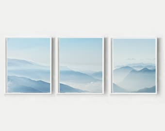 landscape Wall Art,Triptych, Set of 3 Prints, Modern Scandi Prints, Mountain Print, Printable Wall Art, Instant Download, Wall Decor