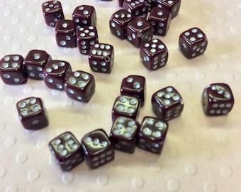 Mini 6 Sided Dice Beads - Burgundy
