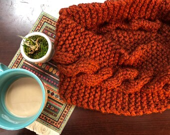Chunky knit scarf, hand knit cowl, bulky scarf