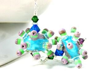 Unique Earrings, Spike Earrings, Colorful Lampwork Earrings, Funky Jewelry, Unusual Earrings, Purple Blue Green Weird Jewelry Fun Sea Urchin