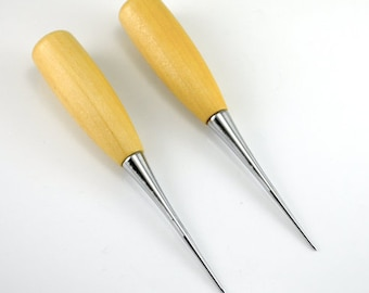 2Pcs Patchwork DIY Manual Leather Tools Wooden Handle Sewing Awl Stitcher Leather Craft Canvas Tent Sewing Needle Kit Tool