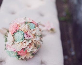 Romantic Wedding Bouquet -Pink and Mint Collection, Keepsake Alternative Bouquet, Sola Bouquet, Rustic Wedding
