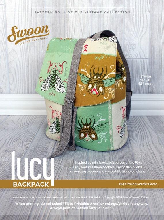 Swoon Patterns: Lucy Backpack PDF Vintage Purse Backpack Bag