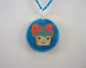 Cupcake Necklace with blue chain