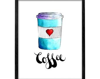 Coffee print Coffee poster kitchen print kitchen poster kitchen art But first coffee print coffee watercolor coffee art coffee illustration