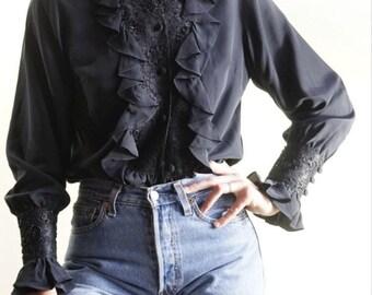 Vintage Diane Von Furstenberg silk ruffle blouse