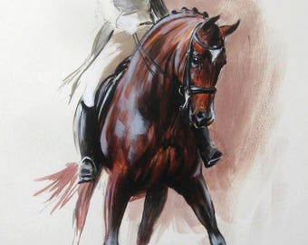 Beautiful Equine horse art horse gift wall art home decor dressage horse print 'Latitude I' from an original oil sketch