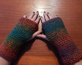 Multi-color Fingerless gloves hand warmers winter Knit mitts gift knitted mittens