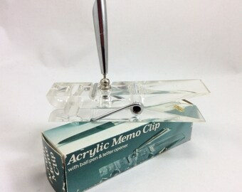 Vintage Clear Acrylic Desk Clothespin Pen Holder with Original Box