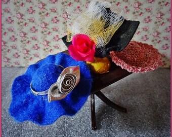 Miniature Hats, Dolls House Hats, Three Dolls Hats, Hats For Dolls House, Dolls House Hat Shop, Small Dolls Hats, 3 Mini hats