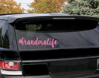 Grandma life #grandmalife / grandma decal / hashtag grandma life / car decal / Yeti decal / tumbler decal / coffee cup decal / laptop decal