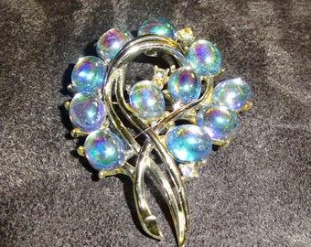 Rare Coro Signed iridescent Glass Cabochon Brooch Blue Iridescent Glass Brooch Mint