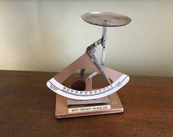 Vintage Letter Postal Scale, Retro Office Decor, Desk Accessory, Taiwan, Best Weight Scale Co, Industrial Decor