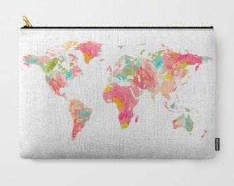 World Map Clutch Floral World Map Makeup Bag Floral iPad Pouch Travel Clutch pink floral makeup bag Travel kit Girls gift travel bag set