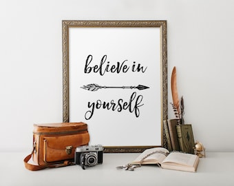 Inspirational quotes about strength, Printable quote, Believe in yourself print, Printable art, Motivational art quote, Dorm decor BD-876