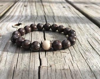 Brown beaded bracelet, beige beaded bracelet, beaded bracelet, Brown Snowflake Obsidian Gemstone bracelet for men, Christmas gift for him,