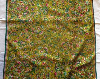 Vintage green and yellow flower pattern scarf