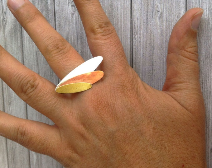 Sterling silver ring - leaf shape - copper,brass & silver ring - gift for her - contemporary jewelry - oval shape -square ring -autumn tones