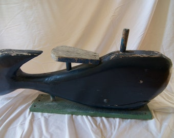 Large Primitive Carved Whale - Rocking Whale