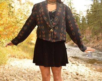 Vintage Southwestern Wool Jacket with Concha Button Native Insipired Pattern