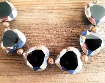 Black Glass Heart Beaded Bracelet
