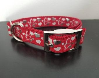 """1"""" Red Valentine's Dog Collar"""